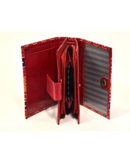 """Peňaženka, design """"Geometric"""", ručne maľovaná kože, červená, 2x9cm"""