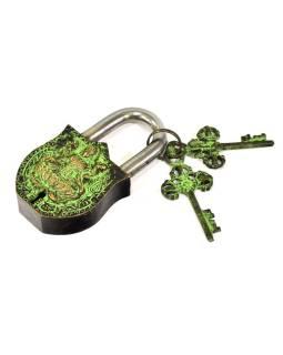 Visiaci zámok, Lakšmí, zelená mosadz, dva kľúče v tvare Dorji, 11cm