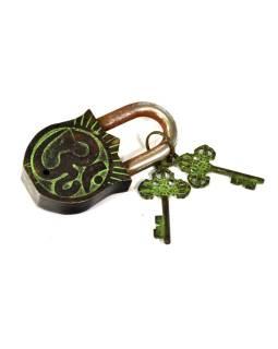 Visiaci zámok, Durga, zelená mosadz, dva kľúče v tvare Dorji, 11cm