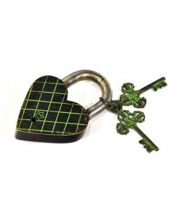 Visiaci zámok, srdce s Lakšmí a Ganéša, zelená mosadz, 12cm