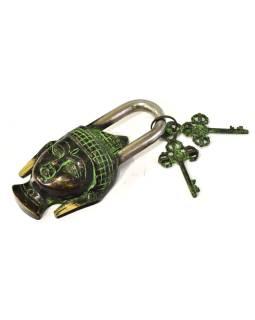 Mosadzný visiaci zámok Budhovho hlava, 2 kľúče, 15x8cm