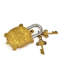 Visiaci zámok, korytnačka, mosadz antik, dva kľúče, 13x7cm, kľúč 7cm