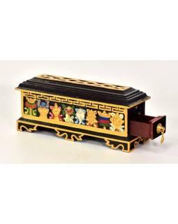 Krabička na pálenie vonných tyčiniek, vyrezávaná, maľovaná, 39x12x14cm
