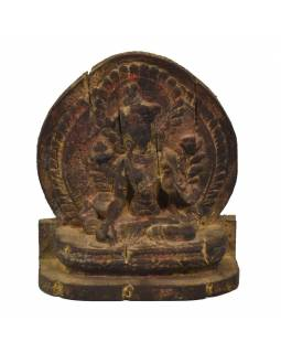 Zelená Tara, drevená socha, ručné práce, antik úprava, 26cm