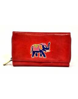 Peňaženka zapínaná na zips, červená so slonom, maľovaná kože, 17x11cm