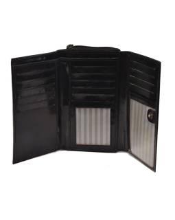 Peňaženka zapínaná na zips, čierna so slonom, maľovaná kože, 17x11cm