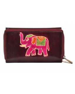 Peňaženka zapínaná na zips, vínová so slonom, maľovaná kože, 17x11cm