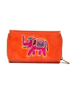 Peňaženka zapínaná na zips, hnedá so slonom, maľovaná kože, 17x11cm