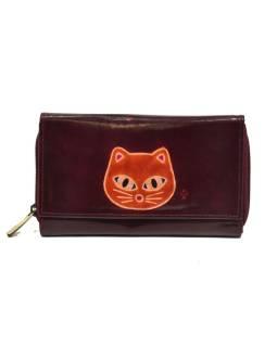 Peňaženka zapínaná na zips, fialová s mačkou, maľovaná kože, 17x11cm