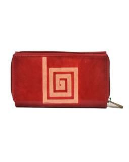 Peňaženka zapínaná na zips, červená so špirálou, maľovaná kože, 17x11cm
