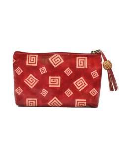 Neceséry zapínaný na zips, červená, ručne maľovaná kože, 18x11cm