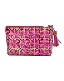 Neceséry zapínaný na zips, ružový, ručne maľovaná kože, 18x11cm