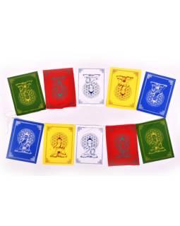 Modlitebné zástavky, 7 zástaviek 16x20 cm, potlač Budha, bavlna