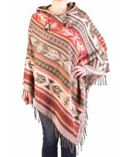 Farebné pončo s kapucňou a strapcami, vzor aztec, béžovo-šedivé