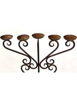 Kovový svietnik, ručne tepaný, 52x25x115cm