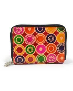 """Peňaženka design """"Colored Circles"""", ručne maľovaná kože, červená, 15x10cm"""