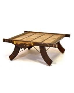 Konferenčný stolík vyrobený zo starého povoze, teak, 100x100x40cm