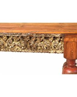 Starý jedálenský stôl z teakového dreva, ručné rezby, 231x90x79cm