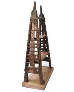 Knižnica s bočnicami z ťavieho povoze a starého dreva, 130x56x215cm