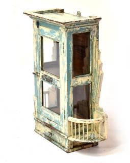 Presklená skrinka z teakového dreva, tyrkysová patina, 62x21x73cm