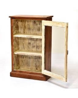 Presklená skrinka z teakového dreva, tyrkysová patina, 62x28x96cm