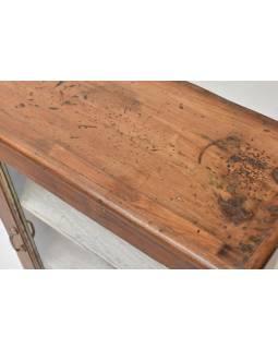 Presklená skrinka z teakového dreva, 62x28x96cm