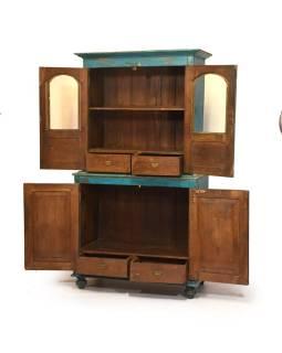 Stará dvojdielna kredenc z teakového dreva, tyrkysová patina, 106x58x200cm