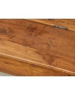 Stará školská lavica s úložným priestorom a kalamári, 183x37x37cm