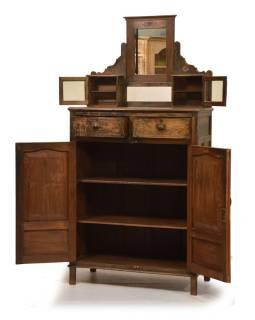 Stará skriňa z teakového dreva so zrkadlom, 86x75x145cm