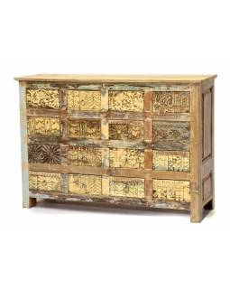 Šuplíková komoda z antik teakového dreva, ručné rezby na šuplíkách, 124x35x88cm