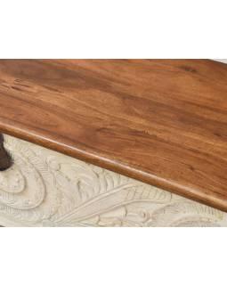 Truhla z mangového dreva, zdobená ručnými rezbami, 117x44x50cm