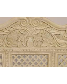 Masívne lavice z mangového dreva, biela patina, ručne vyrezávaná, 147x62x91cm