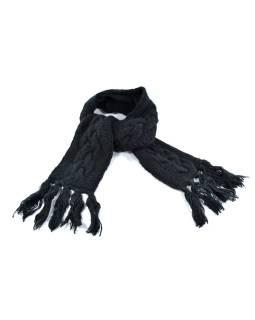 Čierna vlnený šál so strapcami