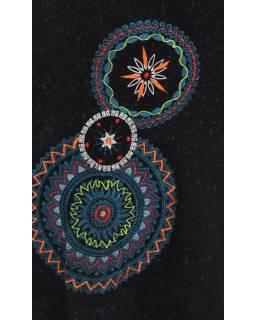 Krátke šaty s dlhým rukávom, čierne, potlač mandál
