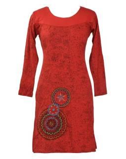 Krátke šaty s dlhým rukávom, červené, potlač mandál