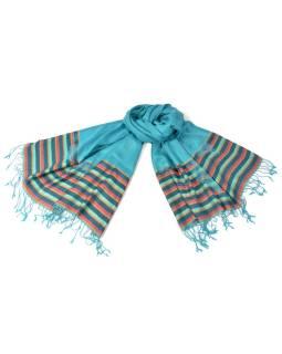 Luxusné hodvábny šál, tyrkysový, farebné konca, kvetovaný vzor, strapce, 186x73c