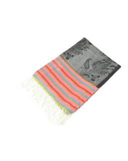 Luxusné hodvábny šál, šedý, farebné konca, kvetovaný vzor, strapce, 186x73cm