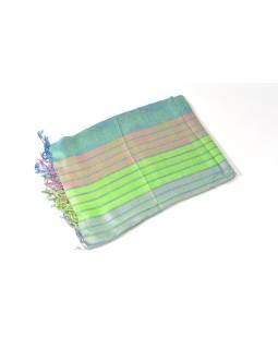 Luxusné hodvábny šál, metalické odtiene zelenej, pruhovaný vzor, strapce, 196x70cm