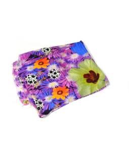 Luxusné vlnený šál, fialové kvety, cca 190x68cm