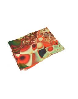 Luxusné vlnený šál, oranžové kvety, cca 190x68cm