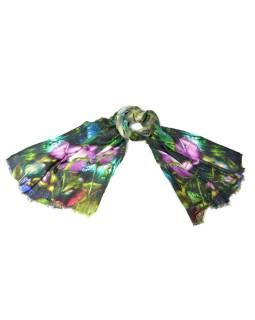 Luxusné vlnený šál, odtiene zelenej, fialovej kvety, cca 190x68cm