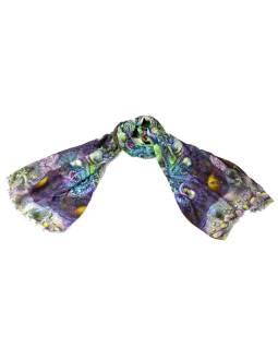 Luxusné vlnený šál, zeleno-fialové kvety, cca 190x68cm