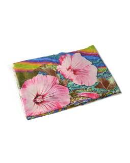 Luxusné vlnený šál, multifarebný, ružové kvety, cca 190x68cm