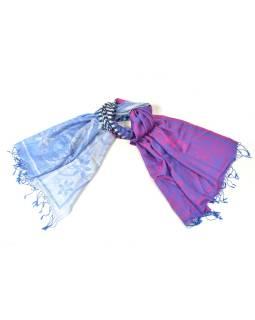 Luxusné hodvábny šál, modro-fialová, farebné konca, květ.vzor, strapce, 188x75cm