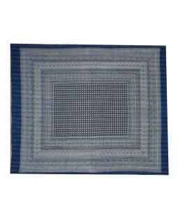 Posteľná prikrývka, modrý, prešívaný, blockprint, ručné práce, 260x220cm