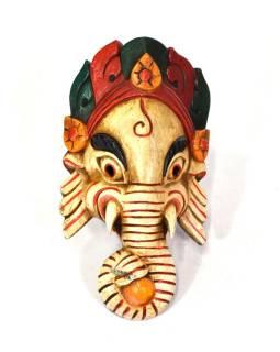 Ganéša, drevená maska, ručne maľovaná, svetlá, 13x24cm
