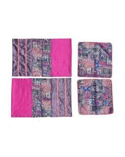 Prikrývka na posteľ so štyrmi vankúšikmi, ružový, bohato zdobený, 260x220