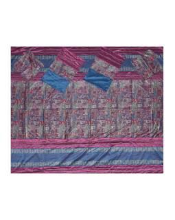 Prikrývka na posteľ so štyrmi vankúšiky, bordeaux, bohato zdobený, 260x220