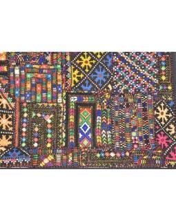 Patchworková tapisérie z Rajastan, ručné práce, farebná, 90x140 cm