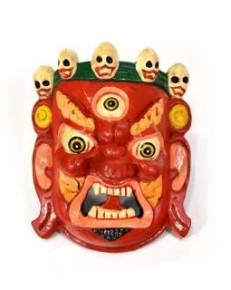 Drevená maska, Bhairab, ručne maľovaný, 17x20cm